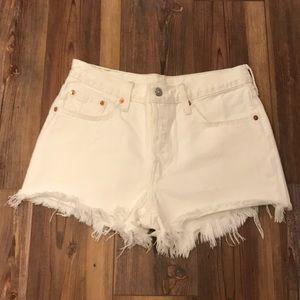 Levi's 501 White Denim Cutoff Shorts